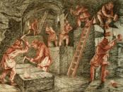 Prace górnicze na scianie, mal. A. Długosz